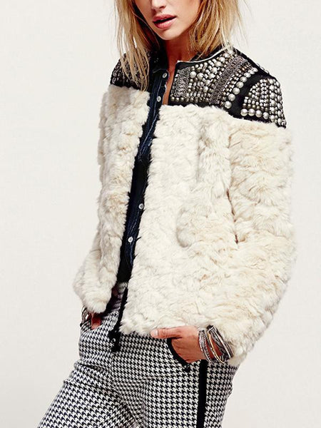 Fashion Long Sleeve Joint Faux Fur Coat