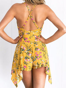 Sexy Yellow Floral Bohemia Deep V Neck Mini Dress