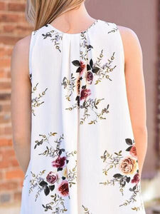 Beautiful White Bohemia Floral Sleeveless V Neck Mini Dress