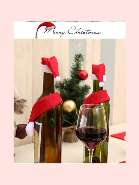 Creative non-woven scarf and hat Christmas bottle decoration