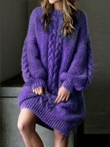 Loose Purple Long Sweater