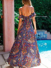 Load image into Gallery viewer, Fashion Floral-Print Straps V Neck Side Split Bohemia Beach Dress