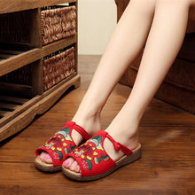 Load image into Gallery viewer, Embroidery Pattern National Wind Hollow Out Slip On Flat Sandals