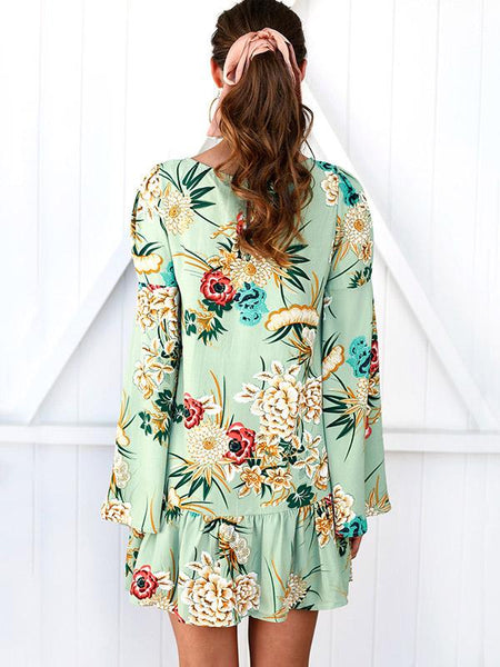 Floral Flared Sleeves Mini Dress