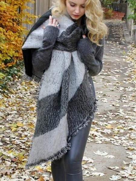 Autumn Raw Edge Beveled Design Thick Plaid Long Warm Scarf Shawl