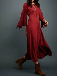 Long sleeved bohemian solid color beach holiday elegant long dress