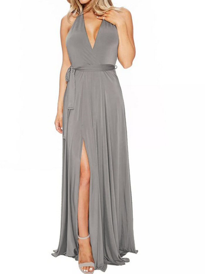 Sexy long solid color V-neck halter dress new banquet evening dress
