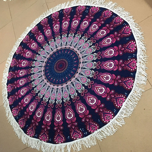 Two colors Flower printed fringed beach towel sun shawl Variety scarf yoga cushion Mat