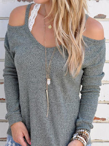 Solid Color Spaghetti-neck Long Sleeve Knit Sweater Tops