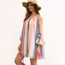 Load image into Gallery viewer, Chiffon Off Shoulder Long Sleeve Beach Mini Dress