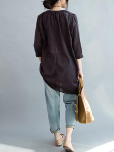 Solid Color See Through Linen Cotton T Shirt Blouse Tops