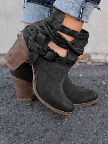 2018 Winter Mid-heel Boots Shoes
