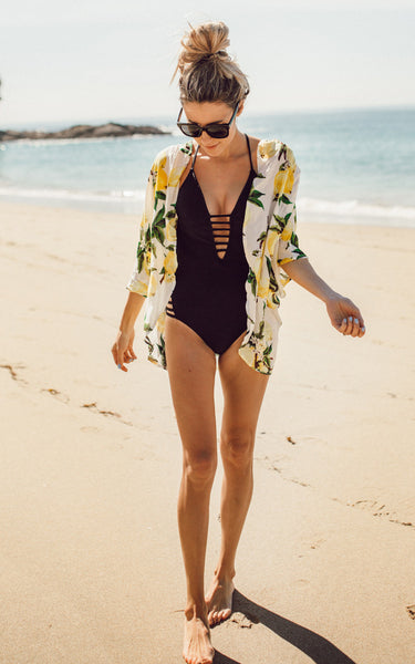 Fashion Lemon Print Short Sleeve Outwear Bikini Cover Up