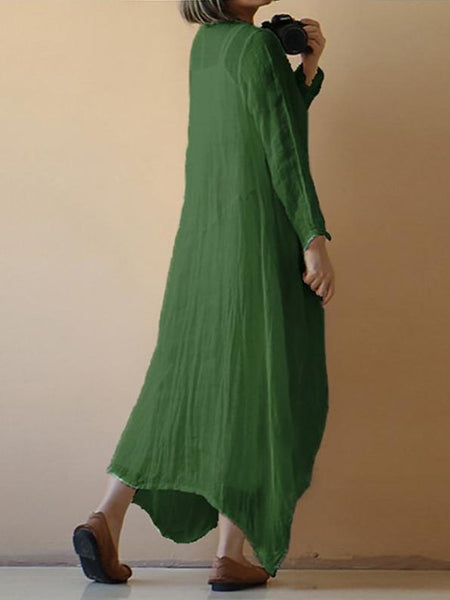Solid Color Long Sleeve Loose Plus Size Dress