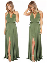 Load image into Gallery viewer, Sexy long solid color V-neck halter dress new banquet evening dress
