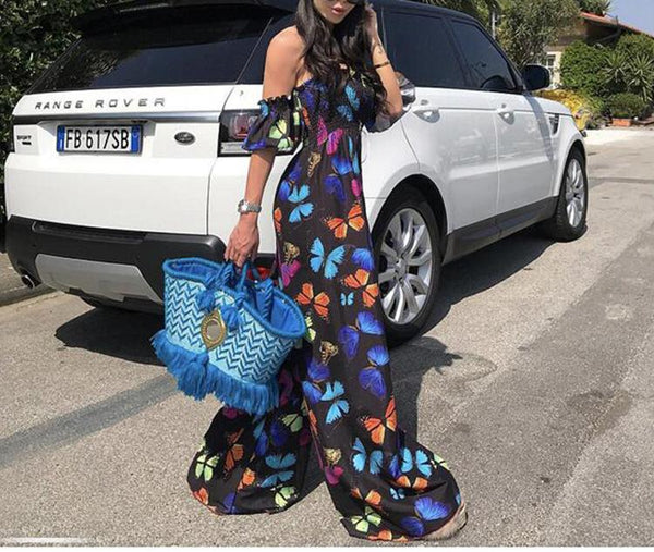 Floral Off Shoulder Wide Leg Pants Jumpsuit
