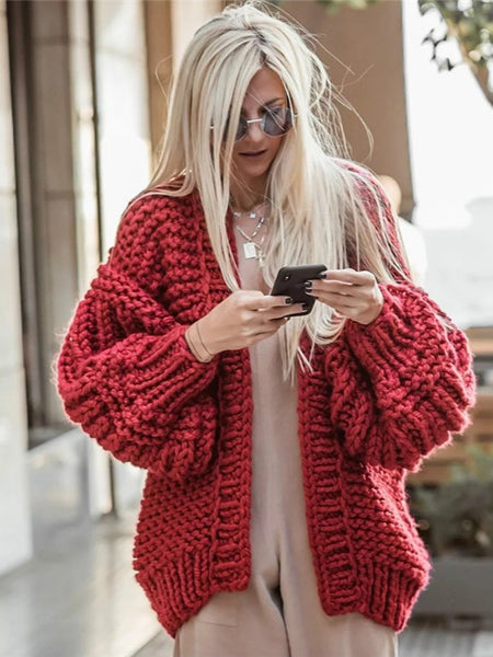 Women's Fashion Cardigans Thick Hand Knitted V-neck Open Stitch Sweaters Loose Oversized Sweater Winter Chic Boho Outerwear