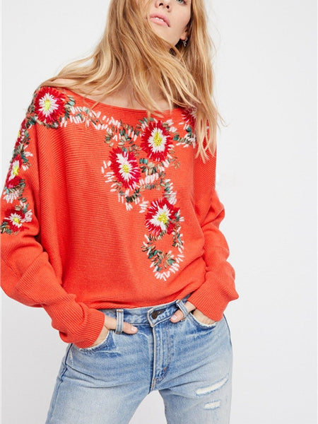 Autumn Winter Bohemian National Style Round Neck Flower Embroidery Thread Loose Sweater Coat