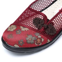 Load image into Gallery viewer, Flower Chineseknot Vintage Retro Mesh Breathable Slip On Flat Shoes