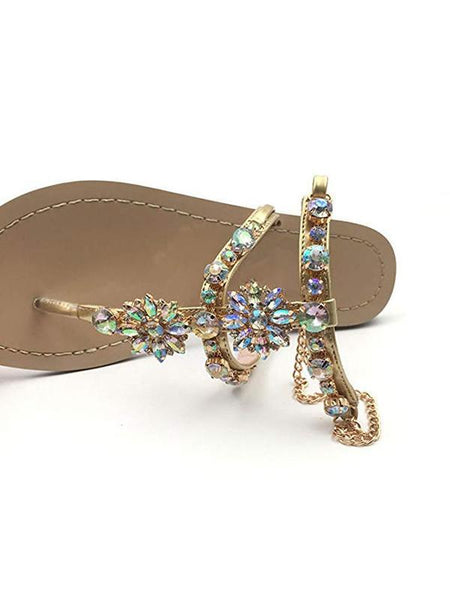 Summer Rhinestone Flat Heel Sandals Shoes