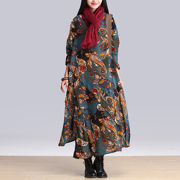 Vintage Print Long Sleeve Loose Maxi Dress