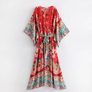 Print V Neck Beach Bohemia Dress