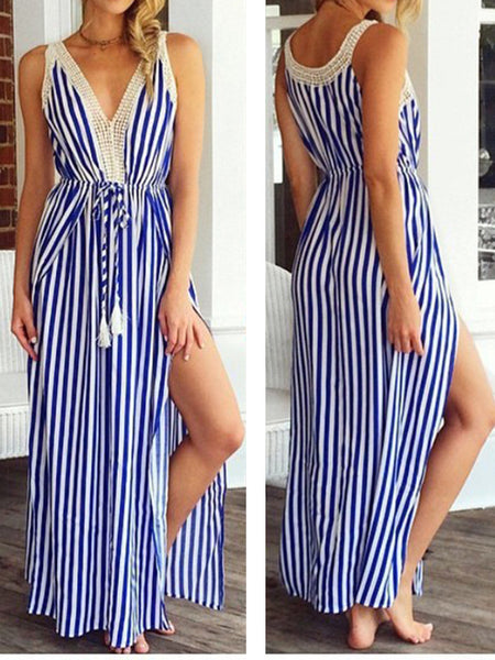 Stripe Sleeveless Side Split Beach Maxi Dress
