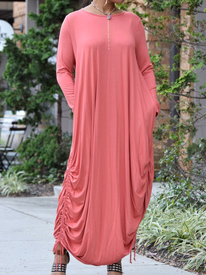 Casual Round Neck Long Sleeve Ruched Loose Solid Color Maxi Dress With Pockets