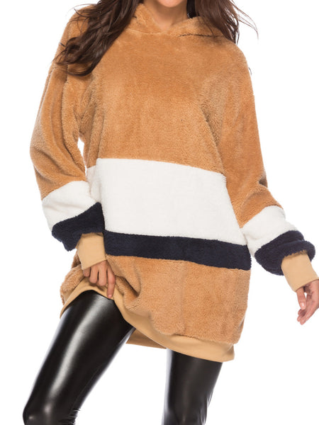 Color Contract Plush Hoodie Loose Stitching Mid-length Sweater