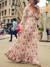 Load image into Gallery viewer, V-neck Floral-Print Bohemia Maxi Dress