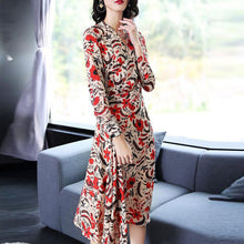 Load image into Gallery viewer, New Print Chiffon V Neck Long Sleeve Beach Dress