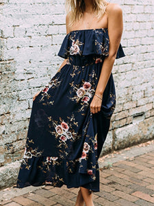 Fashion A-Line Strapless Ruffle Floral Printed Maxi Dress