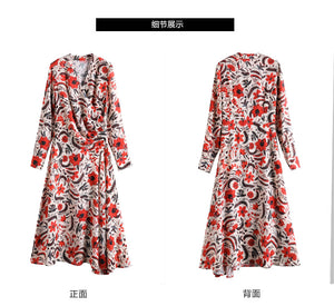 New Print Chiffon V Neck Long Sleeve Beach Dress