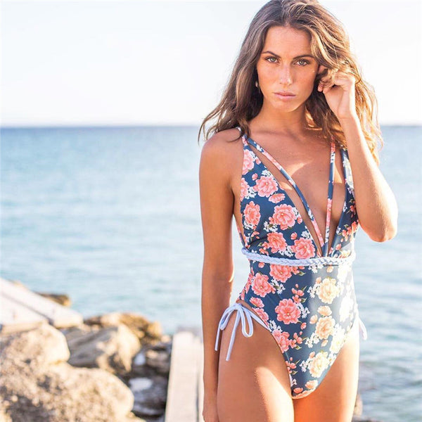 Sexy V-Neck High Waist Floral Printed Swimsuit