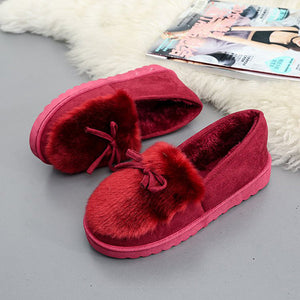 Keep Warm Fur Lining Suede Soft Flat Platform Loafers For Women