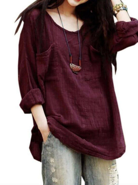 Flax Cotton T - Shirt with Long Sleeve Blouse.
