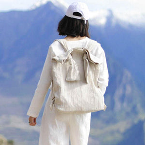 Women Special Casual Cotton Linen Lacing Simple Beige Backpack
