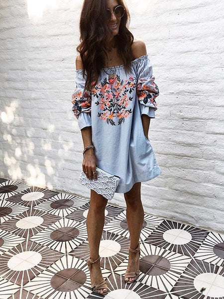 Sexy Print Off-the-shoulder Flared Sleeves Mini Dress