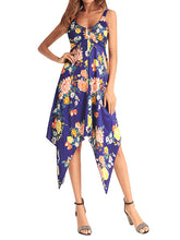 Load image into Gallery viewer, 2018 New Printed Spaghetti Strap V Neck Sleeveless Irregular Dress