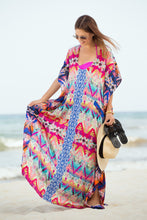 Load image into Gallery viewer, Loose Printed Side Split Bikini Gown Maxi Beach Dress