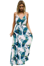 Load image into Gallery viewer, Spaghetti Stripe Printed Beach Bohemia Maxi Dress