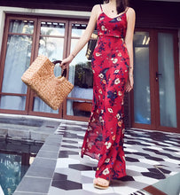 Load image into Gallery viewer, 2018 Summer Floral Print Spaghetti Strap Side Split Beach Maxi Dress