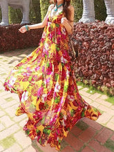 Load image into Gallery viewer, Bohemian Chiffon Dress Ladies Floral Printed Deep V-neck Sexy Spaghetti Strap Backless Summer Maxi Dress