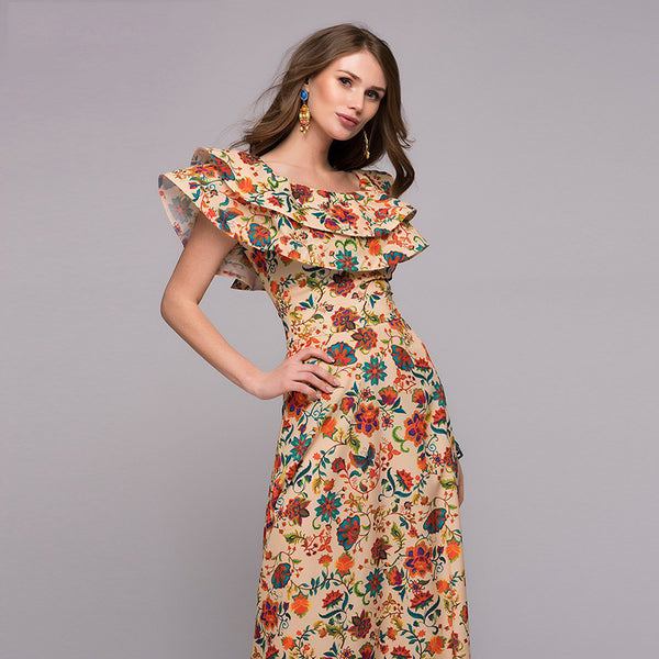 Retro Flower Print Lutos Leaf Long Dress