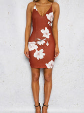 Load image into Gallery viewer, printing Camisole vest Dress Deep V Sleeveless