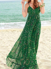 Load image into Gallery viewer, Green Chiffon Floral-Print Straps V Neck Bohemian Beach Maxi Dress