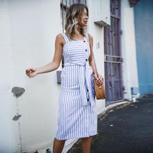 Load image into Gallery viewer, Stripe Button Backless Belted Dress