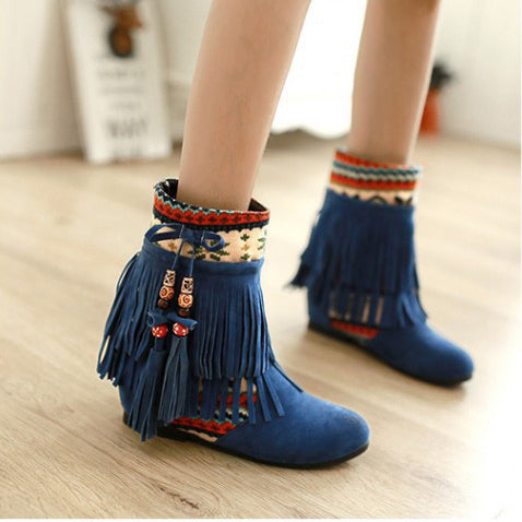 Autumn and winter new foreign trade large size short Boots fringed women s boots increased color short tube beaded frosted boots