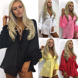 Sexy Long Sleeve Solid Color Swimwear Bikini Cover Up