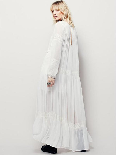 National Bohemia Inwrought Long Sleeve V Neck Beach Long Dress